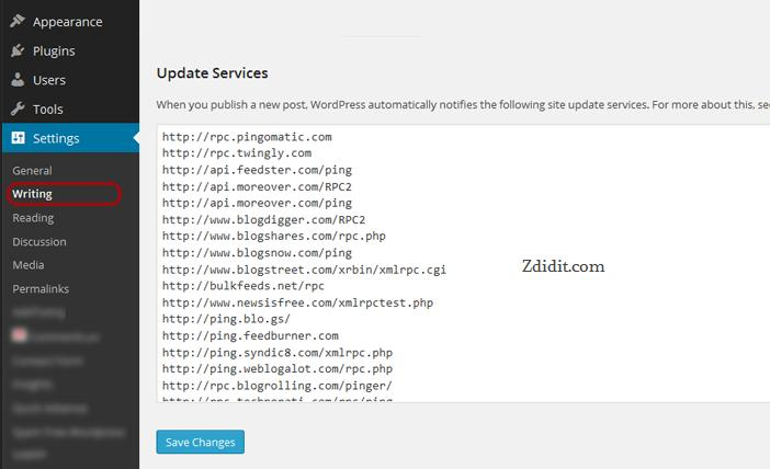 WordPress-ping-list-update