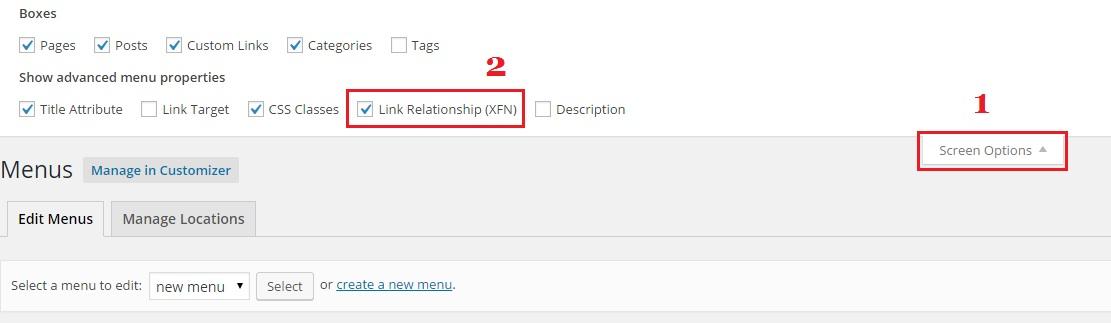 screen-options-add-nofollow-tag-to-menu-link-wordpress